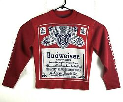 Vtg Budweiser King Of Beers Size M Red Front Back Logo Sweater Anheuser Busch