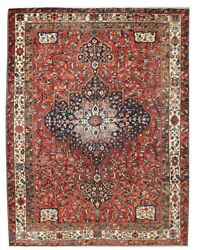 Floral Medallion Hand Knotted Oriental Vintage Wool Traditional Area Rug 11x14