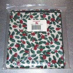 Longaberger Traditional Holly Fabric Square 45 Inch Table Overlay Usa New