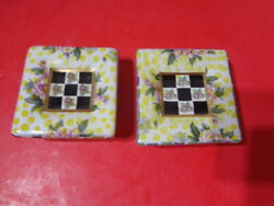 Pair Of 2 Mackenzie-childs Square Floral Checkered Knobs For Draws Or Cabinets