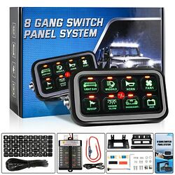 8 Gang Toggle Switch Panel For Car Marine Boat Rv Truck Waterproof Green Led