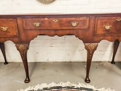 Antique English Queen Anne Sideboard Walnut With Burle Inlays