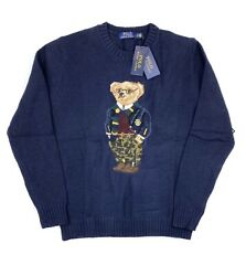 Nwt Polo Big And Tall Navy Knit Camo Pants Bear Cotton Sweater 3xlt