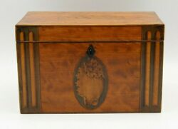 Antique English Georgian Satinwood Double Tea Caddy With Shell And Column Inlays