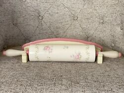 Pfaltzgraff Tea Rose Rolling Pin And Distressed Wooden Holder Rare