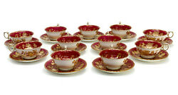 11 Wedgwood England Porcelain Cup And Saucers In Tonquin Ruby, C1930