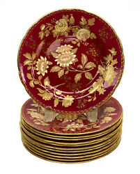 12 Wedgwood England Porcelain 8 Inch Dessert Plates In Tonquin Ruby, Circa 1930