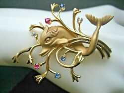 Fabulous Vintage 18k Solid Yellow Gold Art Nouveau Jeweled Dolphin Brooch Pin