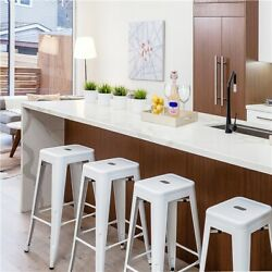4pcs Metal Bar Stools Stackable Bar Chair 30inch Heigh Backless Count Stools