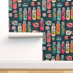 Removable Water-activated Wallpaper Flowers Thermos Picnic Floral Vintage Retro