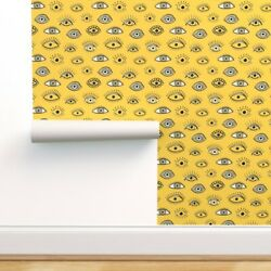 Removable Water-activated Wallpaper Yellow Eyes Abstract Funky Illustration