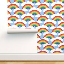 Removable Water-activated Wallpaper Kids Rainbow And Cloud Cloudrainbow Nursery