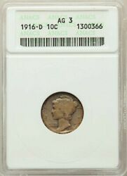 Rare 1916-d Mercury Dime Anacs Ag3 Full Date,strong D Super Fast Shipping