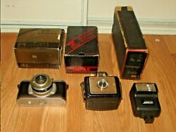 Vintage Mixed Lot Of 5 Old Photo Cameras +1 Flash