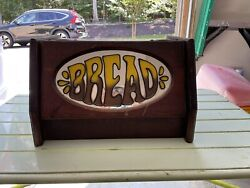 Mcm Vintage Breadbox Hand Made Wood With Glass Center Flip Up. Good Condition