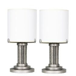 Pair Of Petite French Art Deco Hammered Silver Table Lamps C1940s