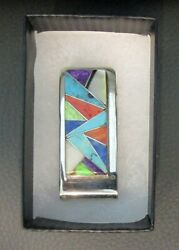 Sterling Silver Money Clip With Zuni Inlaid Stones Artist Marking