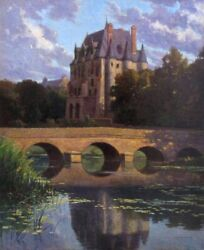 Vintage French Oil Painting, Château River Landscape, Berry Region, Signed, 1936