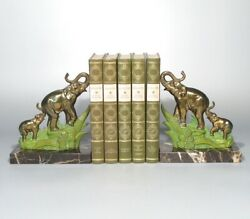 Pair Of Vintage French Gold Green Metal Marble Bookends, Elephants Mother And Baby