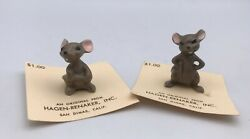 Vintage Miniature Hagen Renaker 1980's Mama Mouse And Big Brother Grey Mice Figure