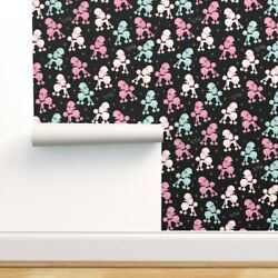 Wallpaper Roll Pretty Poodles Retro Pet Poodle Pink Dog Rockabilly 24in X 27ft