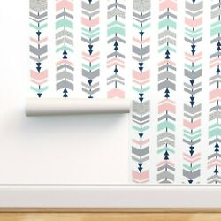 Peel-and-stick Removable Wallpaper Chevrons Chevron Arrow Pink And Mint Nursery