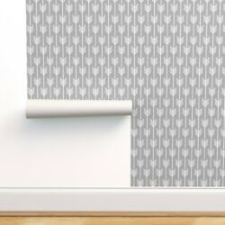 Peel-and-stick Removable Wallpaper Arrows, Light Gray, White, Arrow, Modern,