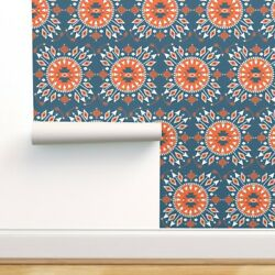 Peel-and-stick Removable Wallpaper Arrow Navajo Tribal Teal White Orange Fable