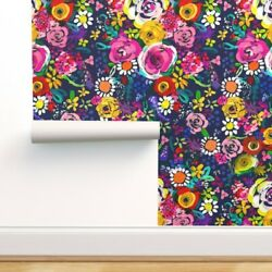 Peel-and-stick Removable Wallpaper Funky Floral Pretty Floral Neon Flowers