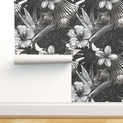 Peel-and-stick Removable Wallpaper Tropical Black And White Floral Bold Funky