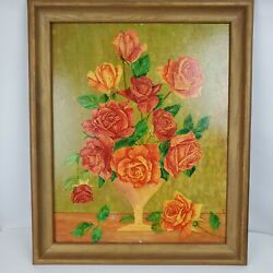 Vintage 1960 G Smith Oil Painting Sill Life Flowers In Vase 19x23 Framed Art
