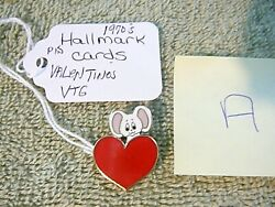 Very Rare Hallmark Pin Valentines Vintage Mouse Over Heart Cloisonne Holiday