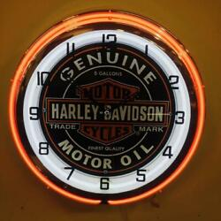 Harley Davidson Double Neon Red/white Wall Clock Car Truck Automotive Sign