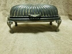Antique Silver Plate Roll Down Covered Butter Dish
