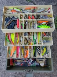 Huge Salmon Trout Fishing Tackle Box Old Pal 1575 Full Spoons Stick Baits Plus
