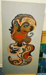 Mystery Unsigned Large Antique 1930 1950s African American Cubism Faces Painting