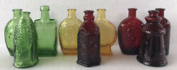 Vintage Glass Bottles Lot Miniature Colored 3 Apothecary Liquor Red Green Amber