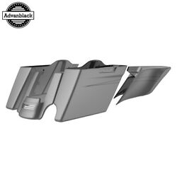 Single Cutout Charcoal Denim Stretched Saddlebags Pinstripes Fits 14+ Harley
