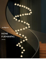 Nordic Led Ceiling Lamp Brass Crystal Stairs Chandelier Living Room Light Decor