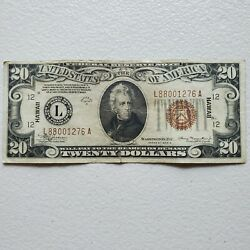 20 Federal Reserve Note 1934 A Hawaii Brown Seal Wartime Currency