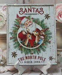Vintage Retro 50and039s Christmas Country Cottage Wall/table Decor. Sign Jolly Santa