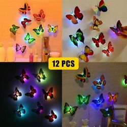 12Pcs 3D Butterfly LED Wall Stickers Glowing Bedroom DIY Home Decor Night light