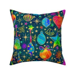 Stars Snowflakes Berries Throw Pillow Cover W Optional Insert By Spoonflower