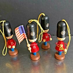 Schubach Xmas Ornaments Military Band Set 4 Hand Made Usa Flag Triangle Wooden