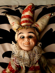 Antique Mechanical Doll Cymbal Clapping Eye Rolling Jester Toy Marked 157