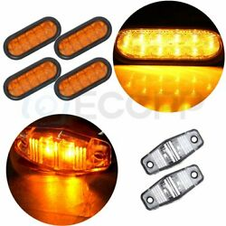 4x 6 21 Led Rubber Yellow Signal Tail Turn Light For Pickup/trailer+free Light