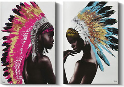 2 Piece Framed Native American Decor Wall Art Set, Beautiful Feathered African A