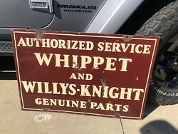 Original 1930s Whippet And Willys-knight Service Porcelain Double Sided Sign