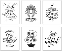 Bathroom Wall Art Decor Set of 6 8 inches x 10 inches Funny Poster Prints