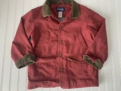 LL Kids LL Bean Canvas Snap Front Barn Chore Jacket Red Corduroy Trim Size 8 $23.99